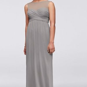 David's Bridal Grey Bridesmaid Dress